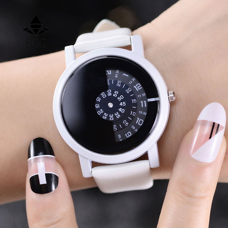 2017 BGG kreative design armbanduhr kamera konzept kurze einfache spezielle digitale discs hände mode quarz uhren für männer frauen