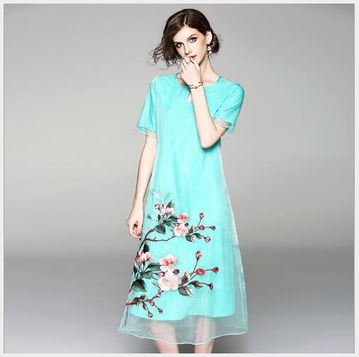 Robe ligne khaki Mode Broderie Blue Féminine Fit Élégant A Summer À New cou Femmes Manches 2018 Slim Courtes Casual Maille O UwdcBq