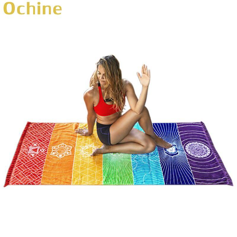 OCHINE Wall Hanging Mandala Blanket Elephant Tapestry Rainbow Stripes Travel Summer Tapestry For Home Living Room Travel Camping