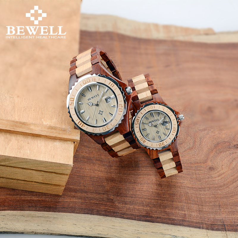 BEWELL Watch Couple Lover Gift Luminous-Bracelet Wooden Luxury with Calendar Strap as