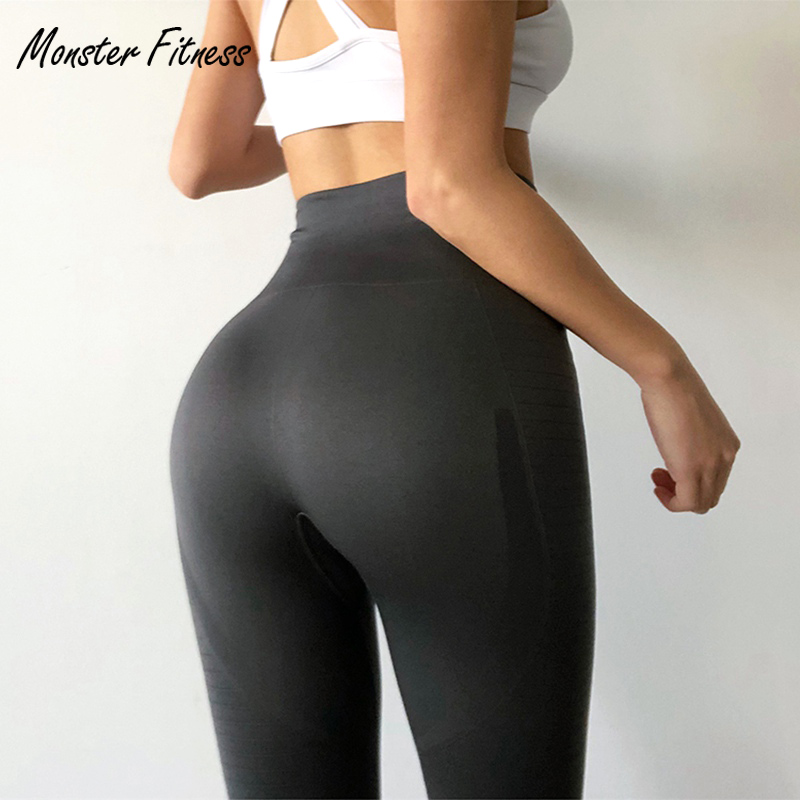 Monster 2018 Yoga Pants Black Sport Leggings High Waist Push Up Sexy Gym Running Workout Sport Fitness Leggings For Women black see through detail fashion sport leggings