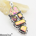 HERMOSA Handcrafted Vintage Beautiful Murano Glass Colorful 925 Sterling Silver Necklace Pendant JJ21