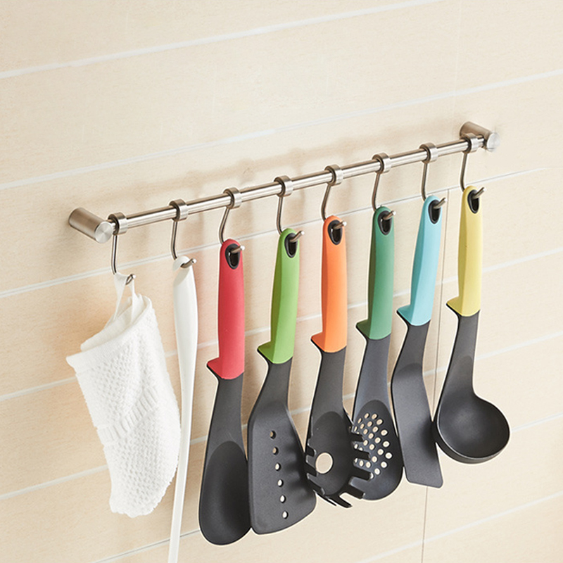 US $14.34 30% OFF|1pc Wall Mounted Kitchen Racks Kitchen Utensil Rack  Stainless Steel Pantry Cookware Kitchenware Shelf Storage Holder Hook  New-in ...