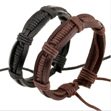 Hotting Genuine Leather Braided Wrap Bracelets Handmade Trendy Hemp Wristband Bracelet Jewelry For Men Women Factory Price