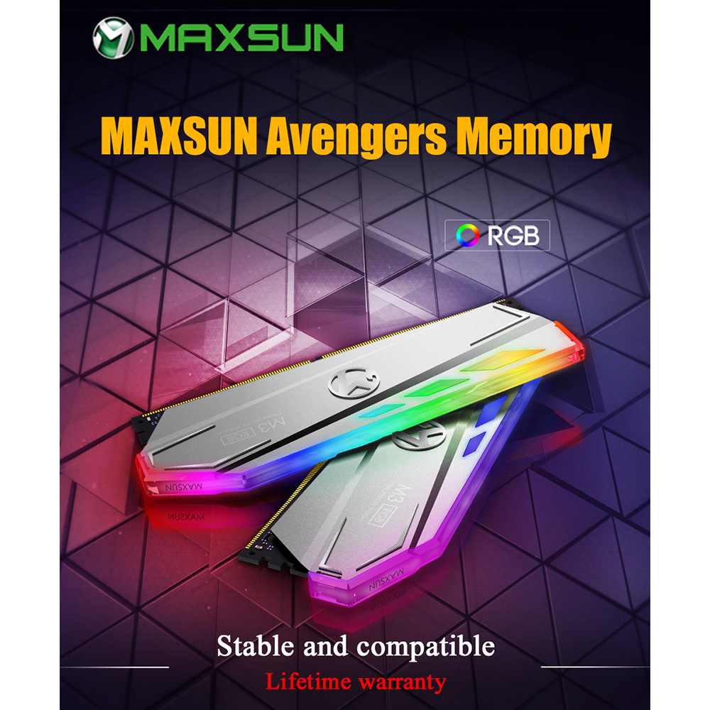 MAXSUN RAM DDR4 8GB/16GB Desktop Memory 2400MHz memory voltage 1.2V 17-17-17-39 Lifetime Warranty 288pin Flash Light Single RAMs 1
