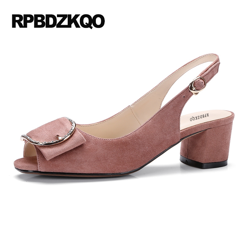 Crystal Metal Peep Toe Fashion Fish Mouth Pumps High Heels Suede Shoes Ladies Strap Slingback Sandals Block Pink Japanese sandals casual peep toe fashion ankle strap wedge high heels pumps platform fish mouth size 4 34 small shoes suede women black