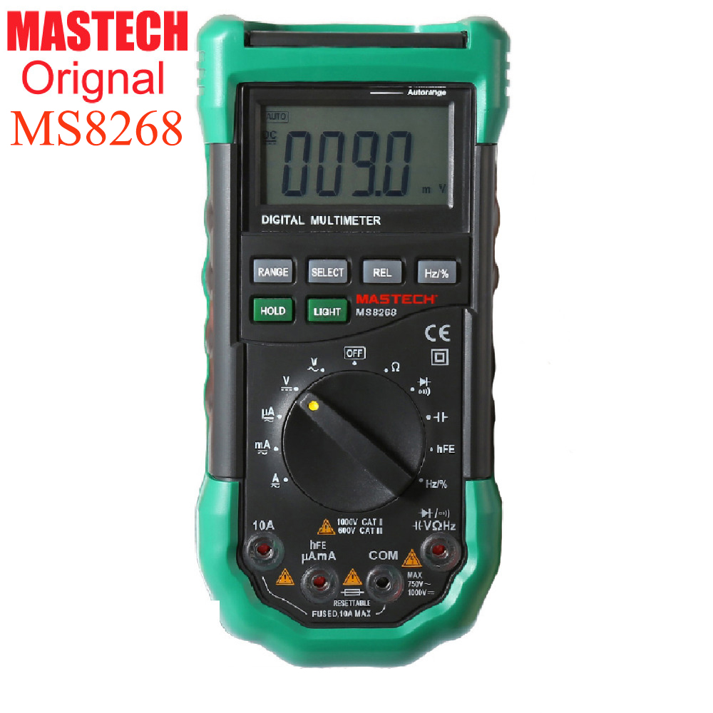 Mastech Ms8268 Digital Multimeter Auto Range For Ac/dc Ammeter Voltmeter Ohm Frequency Electrical Tester Detector lcd range auto digital pocket voltmeter multimeter tester tool ac dc xb 866 mini