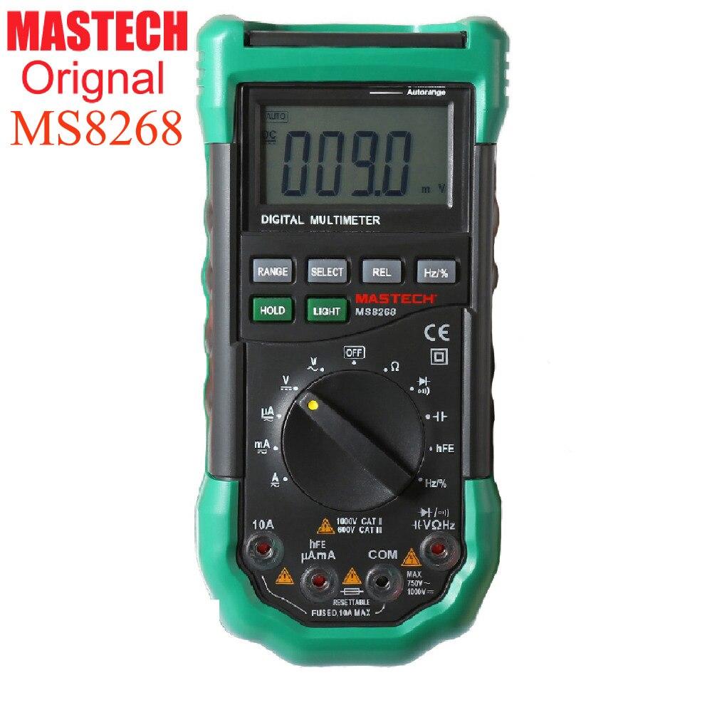 Mastech ms8268 auto gamma multimetro digitale per ac/dc amperometro voltmetro ohm frequenza tester elettrico rivelatore