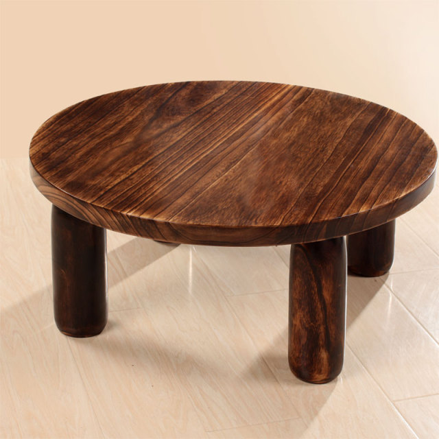 Anese Antique Wooden Tea Table Paulownia Wood Traditional Asian Furniture Living Room Low Coffee Round 80cm
