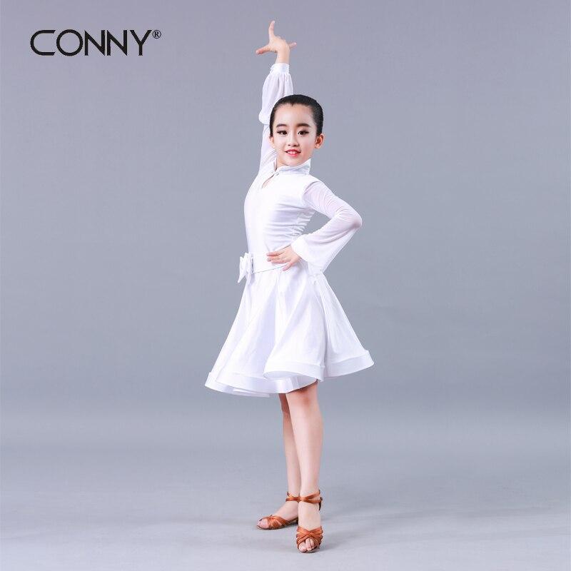 739915296a Dziewczyna dzieci długie rękawy standardowy Latin konkurs sukienka dzieci  taniec nowoczesny Ballroom Salsa Rumba Tango Samba Cha Cha kostiumy