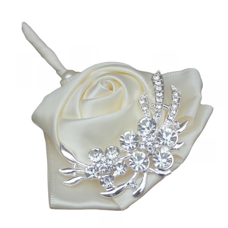 WifeLai-A Handgjorda Pure Color Bouquet Corsage Diamond Rose - Bröllopstillbehör - Foto 6