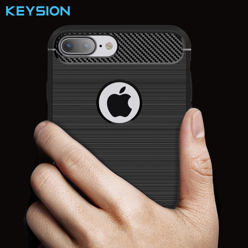 Keysion Case for iPhone 7 8 Plus i7 Rugged Brushed TPU Back cover with Carbon Fiber Decorated for iPhone 8 Plus Mobile Phone Bag