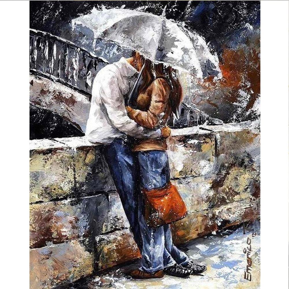 Diamantová malba Milovníci v dešti Diy Diamantové výšivky - Umění, řemesla a šití
