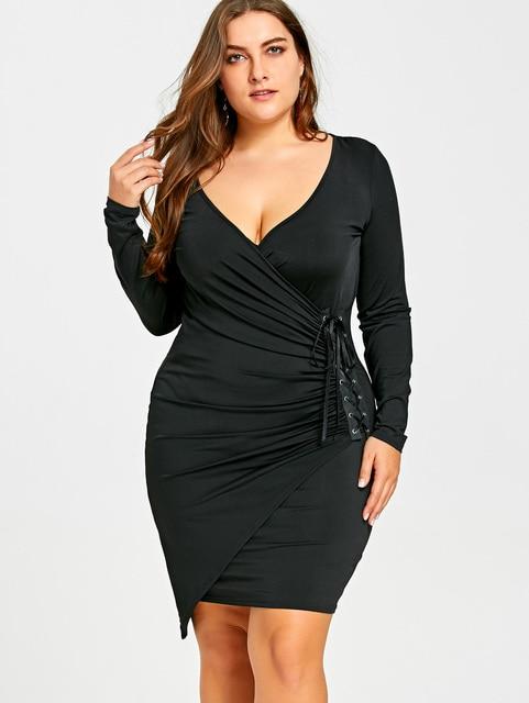 d8981ffe0d Gamiss Women Sexy Club Party Dresses Plus Size 5XL Lace Up Surplice Dress  Deep V Neck