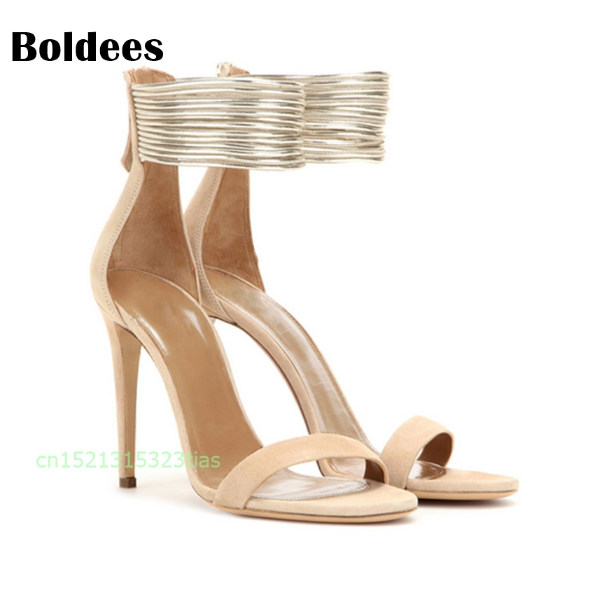 Women Sandals Summer Open Toe Women's Sandals High Block Heel Shoes Beige Black Gladiator Shoes Ankle Strappy Big Size