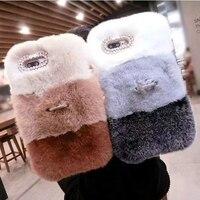 Luxury Woman Lady Fluffy Winter Warm Wool Rabbit Hair Rhinestone Diamond Gift Case Cover For Samsung
