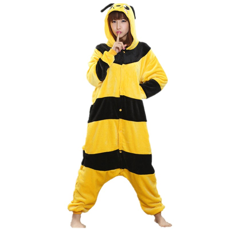 Lovely Yellow Bee Pajamas For Adult Costume Party Festival Soft Women Flannel Onesie Cartoon Jumpsuit Kigurumi Winter Sleep Suit (2)