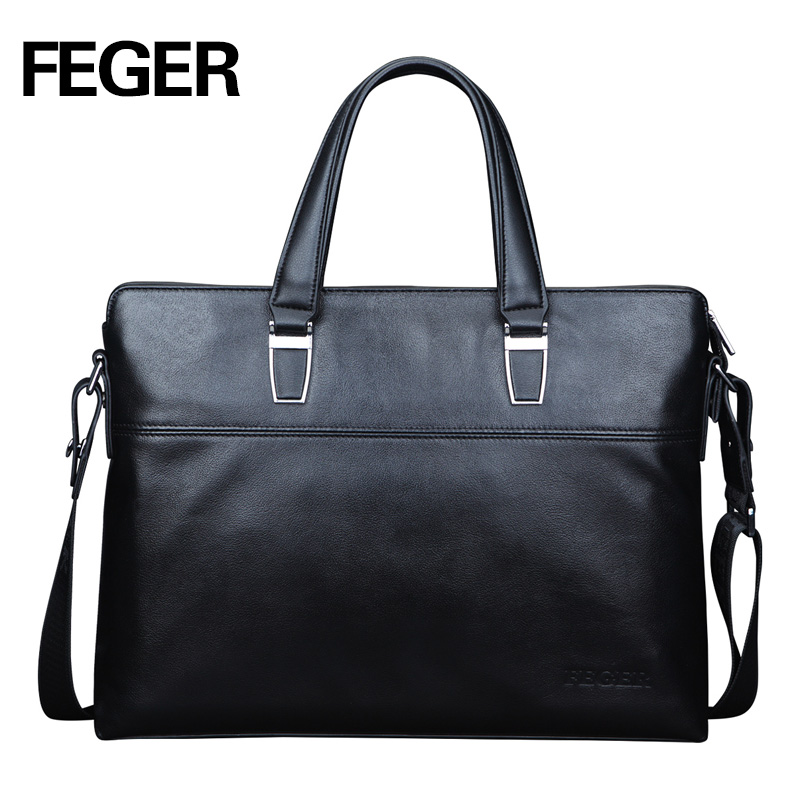 FEGER Fashion leather laptop bag black leather men handbag business men's bag free shipping