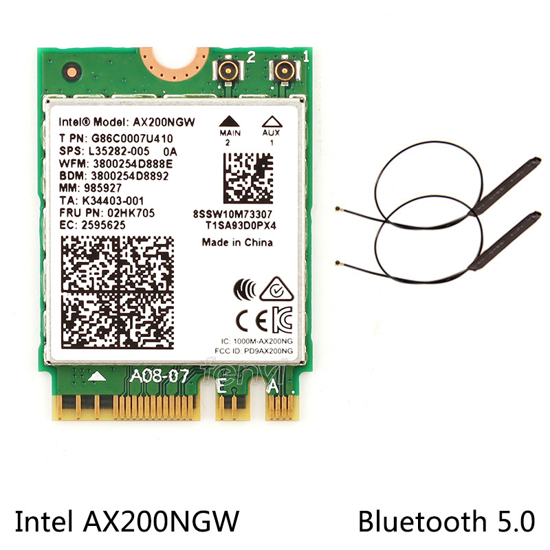 Dual band 2.4Gbps Intel Wi Fi 6 AX200NGW 802.11ax/ac MU MIMO 2x2 Wifi AX200 NGFF M.2 Bluetooth 5.0 Network Wlan Card+Antenna-in Network Cards from Computer & Office