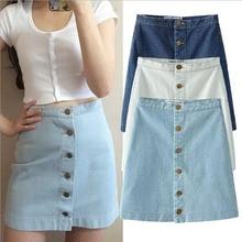Summer 2016 Women Denim Skirt Jeans Short High Waist Mini Vintage Adult Jupe Sexy fashion front row buckle cowboy skirt