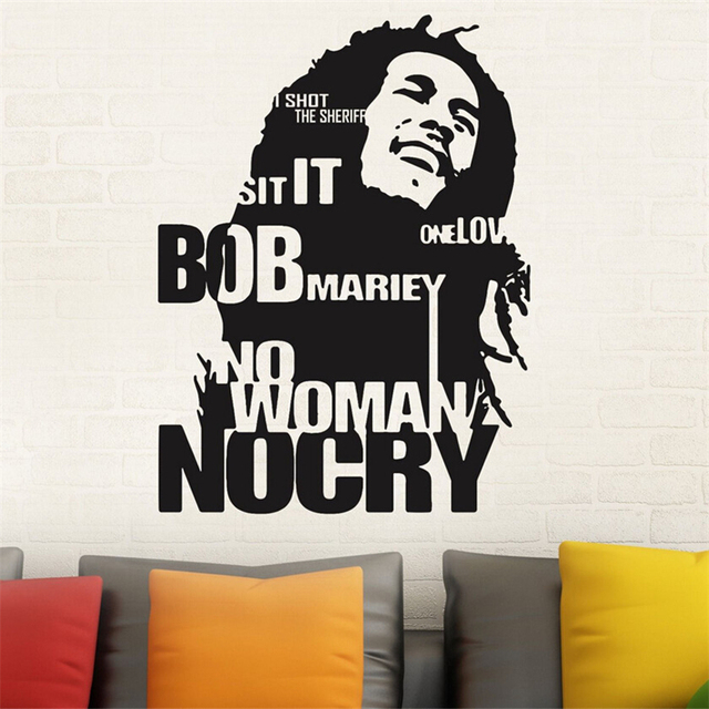 Modern Design Bob Marley Wall Sticker Decor Sticker No Woman No Cry