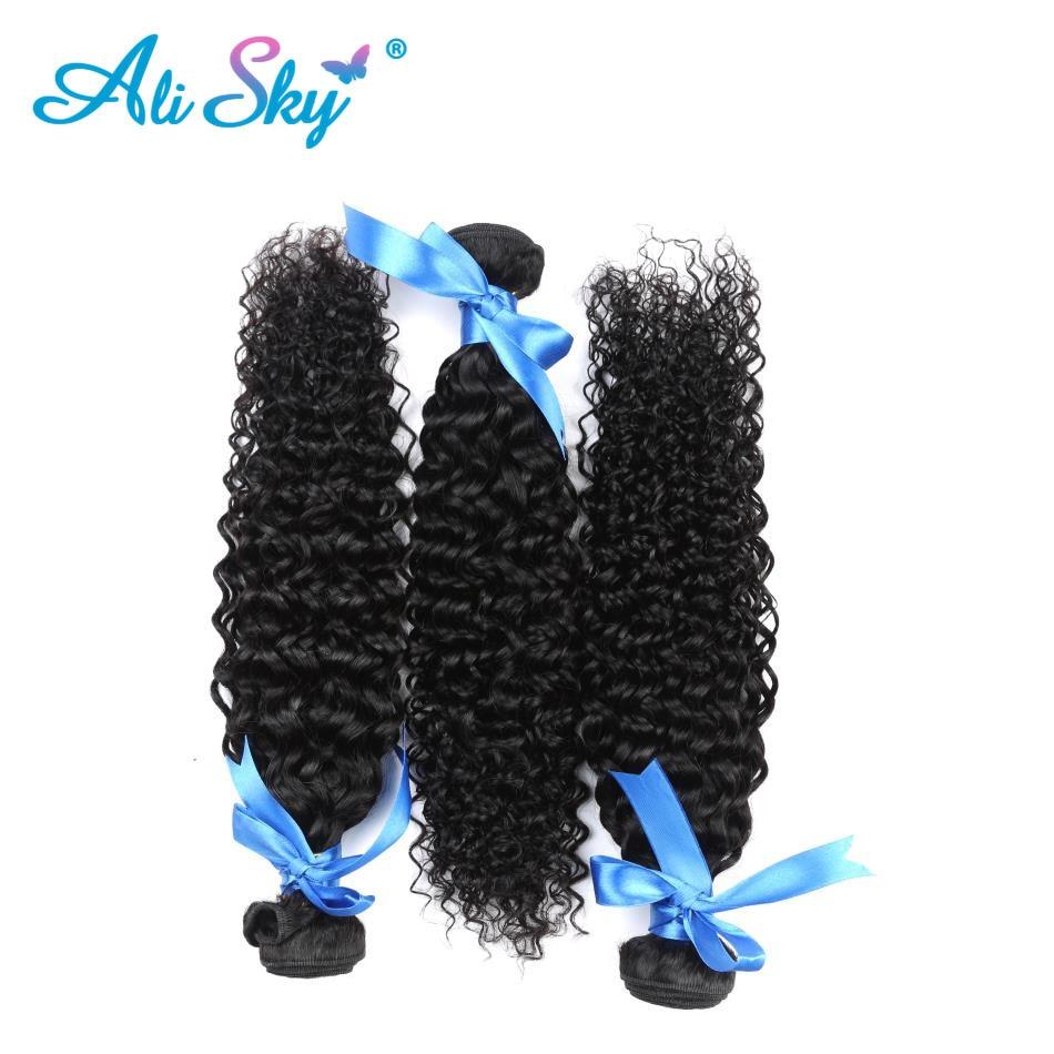 Ali Sky brasilianska afro Kinky Curly Hair Weave 4 Buntar Med - Mänskligt hår (svart) - Foto 2
