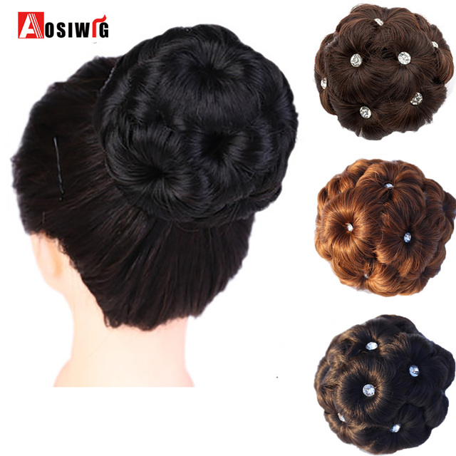 AOSIWIG Hair Curly Chignon Bun Donut Clip In Hairpiece Extensions For Women Synthetic High ...