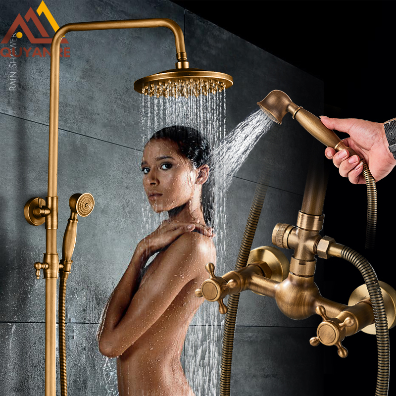 Quyanre Antique Brass Shower Faucets Set Wall Mount Antique Brass Shower Kit Dual Knobs Mixer Tap Recommended Products Cards Carousel