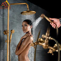 Quyanre Antique Brass Shower Faucets Set Wall Mount Antique Brass Shower Kit Dual Knobs Mixer Tap Handheld Spray Bathtub Kit
