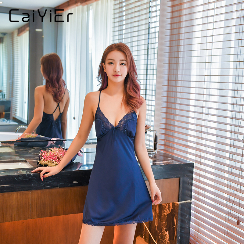 Caiyier Nightgowns For Women Backless Strap Sleepwear Lingerie 2018 Solid Night Satin Dress Women Nightwear Nightgowns LL8526 ...