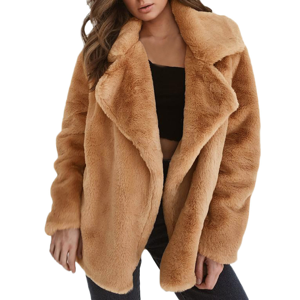 Furry Fur Coat Women Fluffy Keep Warm Long Sleeve Solid Color Outerwear Autumn Winter Coat Jacket Loose Big Collar Overcoat