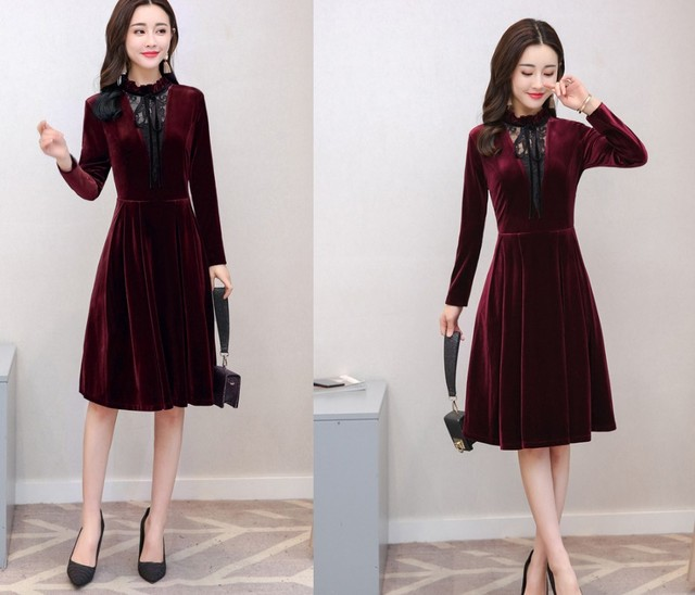 caf344798b 2019 Spring Winter Dresses Women Long Sleeve Vintage Burgundy Black Velvet Dress  Sexy Evening Party Dresses Robe Femme Vestidos