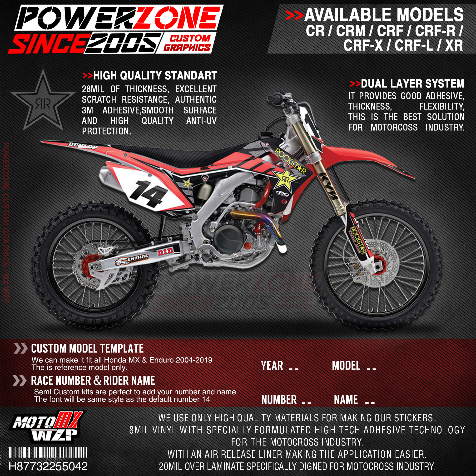 PowerZone Custom Team Graphics Backgrounds Decals 3M Stickers Kit For HONDA CRF250R 2010-2013 CRF450R 2009-2012 041