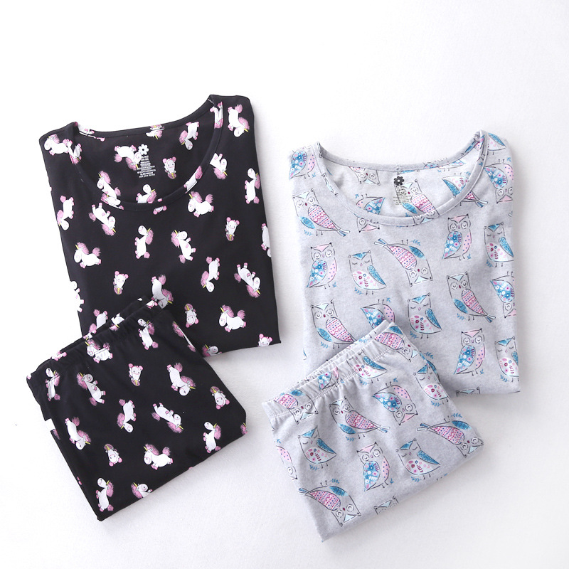 Sweet   pajamas     sets   with cute cartoon owls hourses printed cotton fashion round neck women   pajama     sets   hot selling for ladies