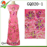 2017 GQ020 Queency Curious Raw Silk Embroidery George African Fabric Wholesale From India For 5 Yards