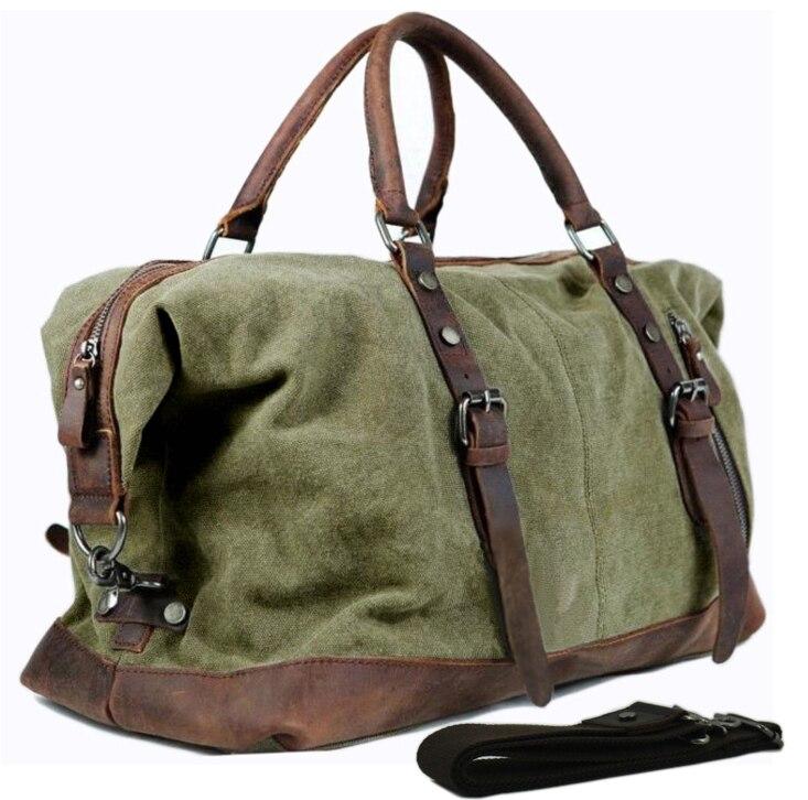 Bagaj ve Çantalar'ten Seyahat Çantaları'de Vintage askeri Tuval Deri erkek seyahat çantaları Bagaj çantaları Erkekler Duffel çanta seyahat tote büyük haftasonu Çanta Gecede'da  Grup 1