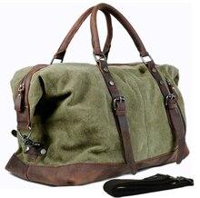 Vintage militaire Canvas Lederen mannen tassen handbagage tassen Mannen plunjezakken reizen tote grote weekend Bag Overnight