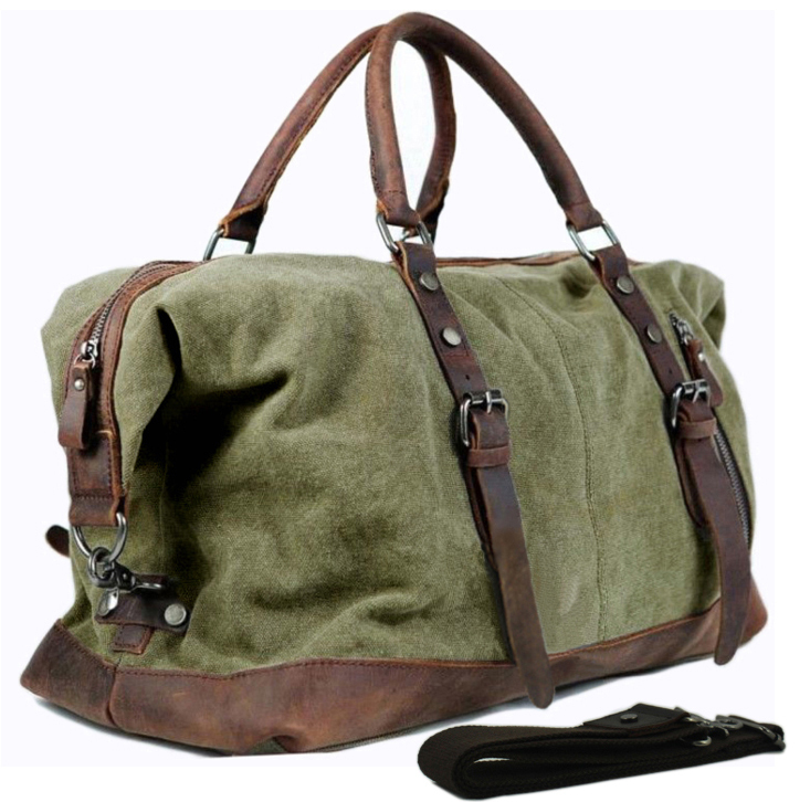 Us 54 99 40 Off Vintage Military Canvas Leather Men Travel Bags Carry On Luggage Duffel Tote Large Weekend Bag Overnight In