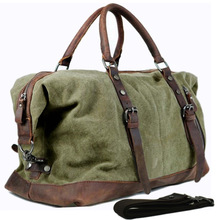 Vintage military Canvas Leather men travel bags Carry on Luggage bags