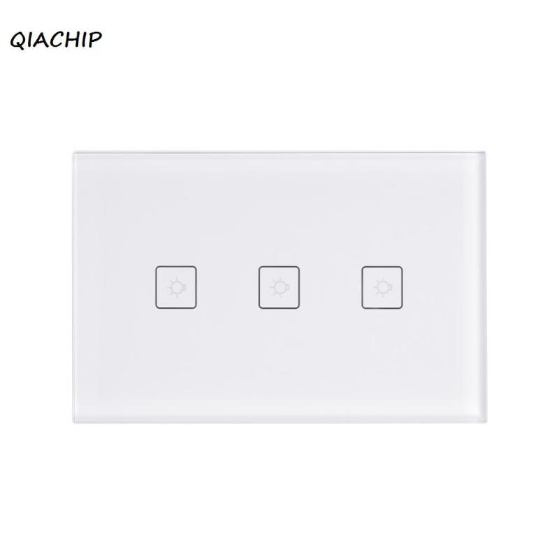 QIACHIP US Plug 3 Gang 3 Way Wifi Wall Sensor Touch Switch Work With Amazon Alexa Smart Home Remote Control light LED switch H3 cnskou manufacturer wifi touch switch led light wall smart home remote control switch 3 gang 1 way luxury glass panel