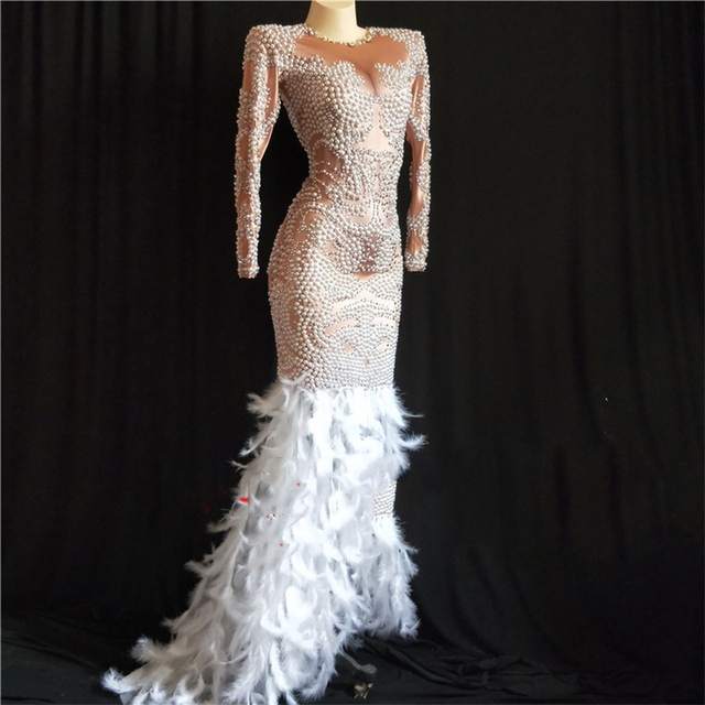 Pearls Feather Rhinestones Dress Women Evening Party Wear Long Sleeves Prom Luxurious Perspective Dress Singer Dresses DJ342