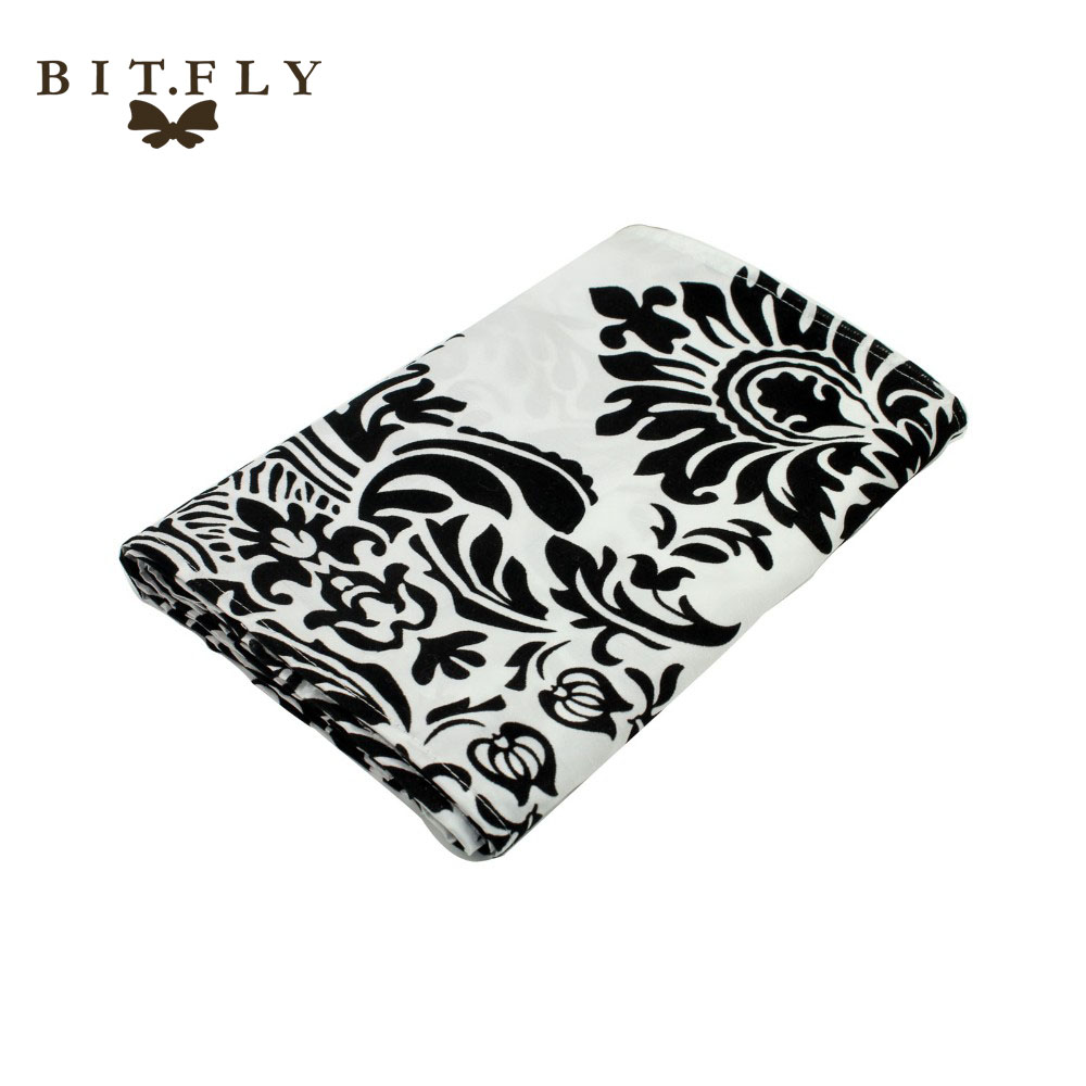 10pcs Luxury 30x275cm Black And White Flocking Table Runners Quality Tablecloth Wedding table runners wedding home