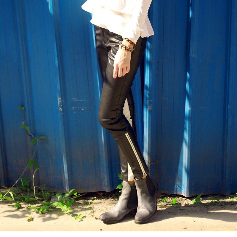¡S 5xl! Moda Mujer Pantalones elásticos Color bloque cuero Delgado pantalones lápiz Casual cremallera apretado cantante disfraces ropa - 4