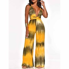Colorful Tie Dye Print Halter Wide Leg Jumpsuit Bohemian Women Deep V-Neck Palazzo Backless Overalls Beach Sexy Loose Romper недорого