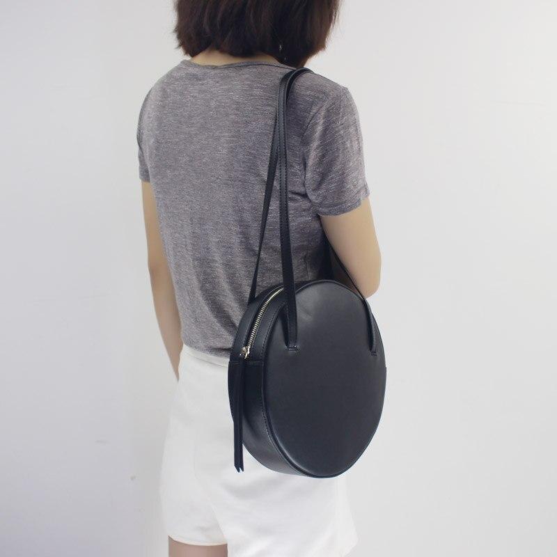 BENVICHED Rodada saco de Gado de couro Genuíno Das Senhoras 2019 de moda de nova pure color bolsa único saco de ombro retro mini saco c392 - 3
