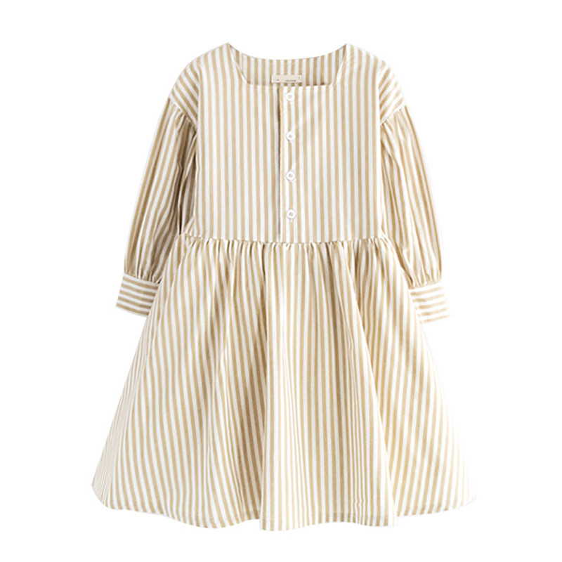 4 to 14 years kids & teenager girls three quarter sleeve autumn spring striped cotton flare dress square collar casual dresses цена