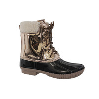 FO29 Women S Lace Up Two Tone Winter Snow Duck Ankle Booties