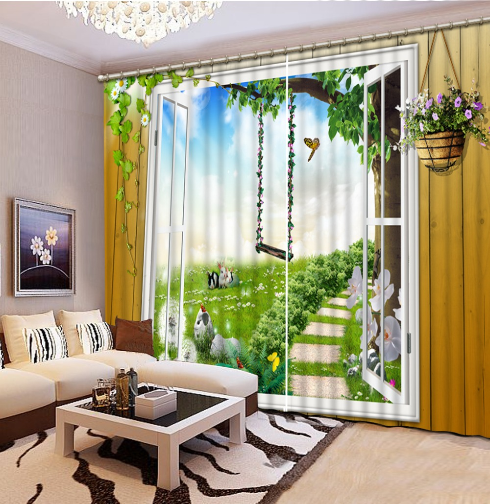 Living Room With Garden: Custom 3d Cortinas Garden View 3d Window Curtain Living