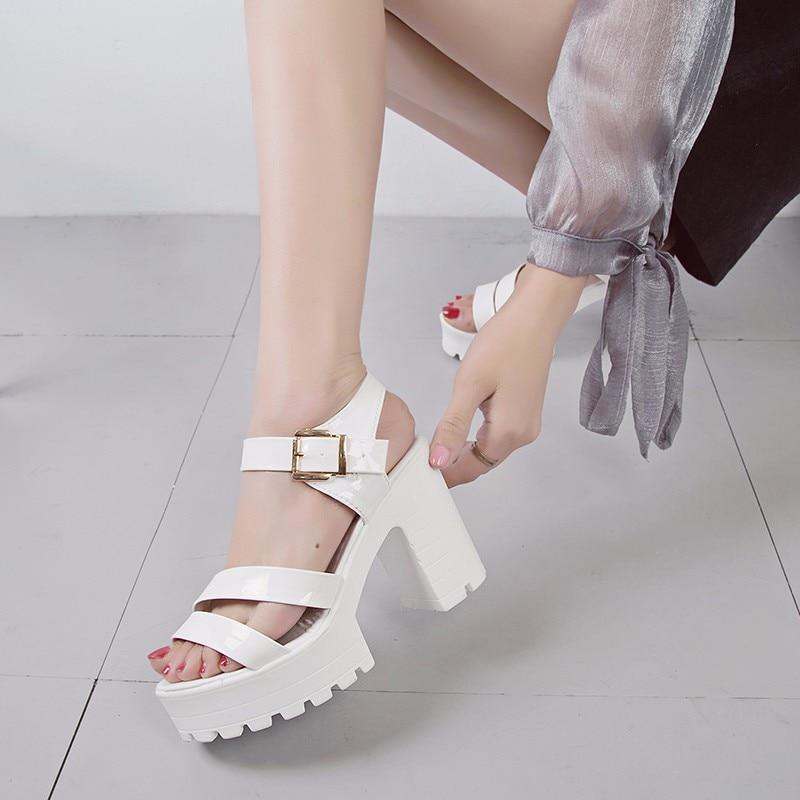 2018 D'été Super Femme blanc 40 forme Boucle Plate Taille Talons Hauts Sangle De Sandales Noir Grande Fête Femmes Sandale 35 Chaussures rUnY0xr