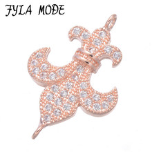 2017 Jewelry Findings Anchor Connectors Gold Silver Color Micro Pave Zircon Copper Metal Connector Fit For Bracelets Making